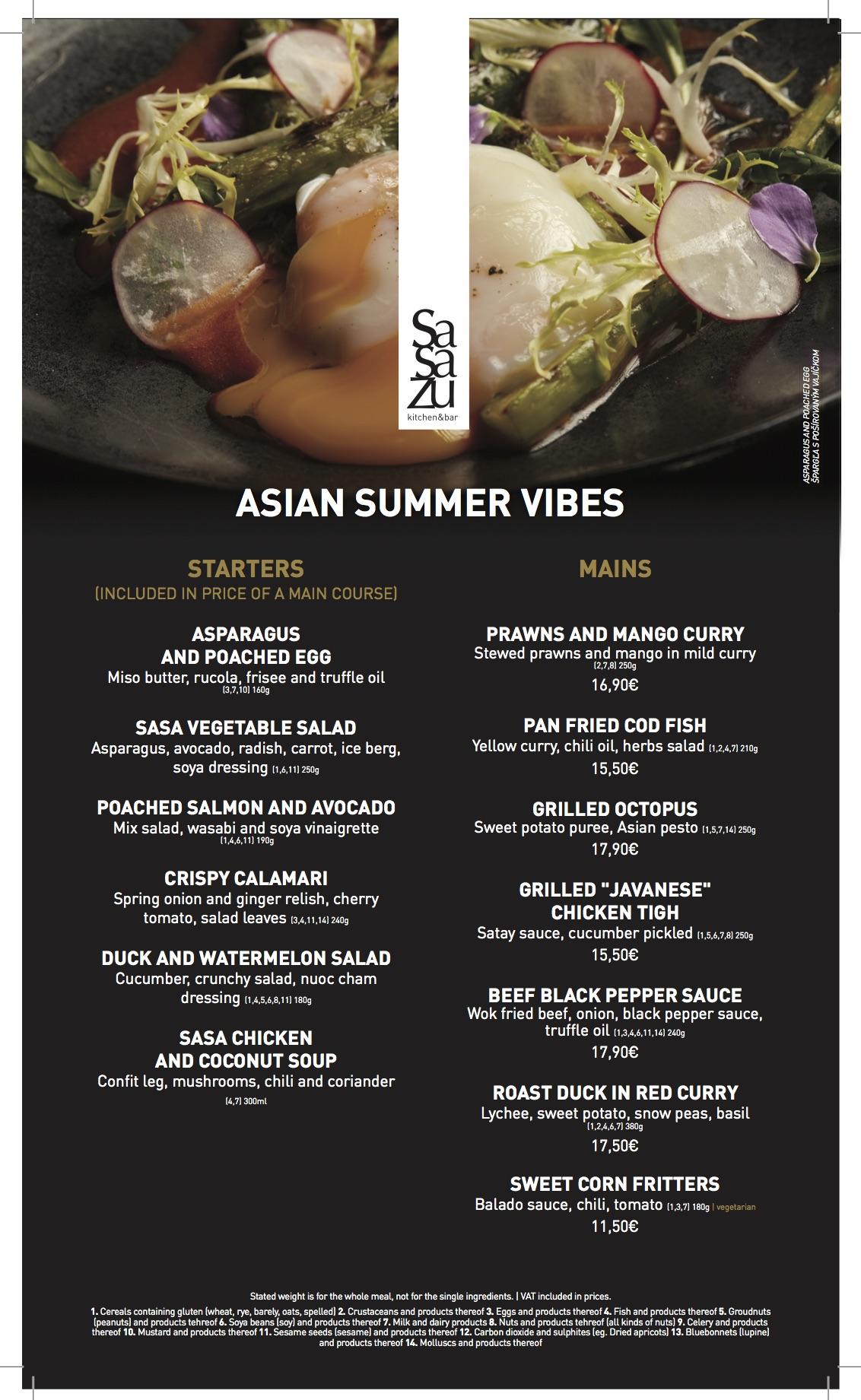 Asian summer vibes en menu